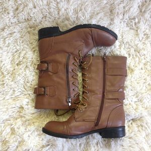 Shoes - Brown Lace Up Boots Shoes Size 6.5